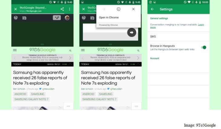 Hangouts 13.0 for Android launched With Chrome custom Tabs guide.