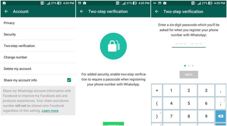"The WhatsApp""s two-step Verification"